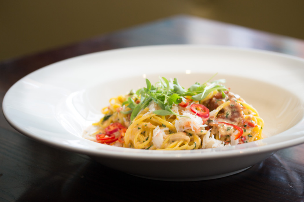 Crab linguine, chilli oil