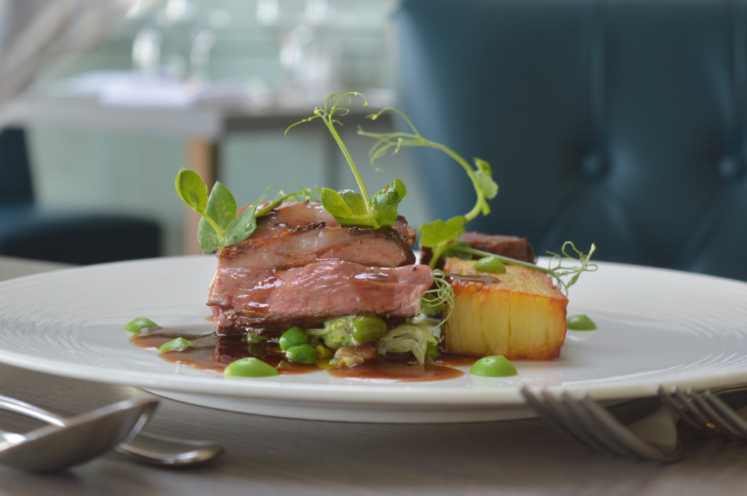 Grafton Farm Lamb Rump Braised shoulder, gratin potato, pancetta, pea and broad bean fricassee, lamb jus -TP